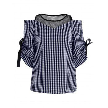 Cold Shoulder Mesh Insert Plaid Top - BLUE ONE SIZE