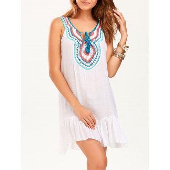 Sleeveless Drop Waist Crochet Collar Tunic Dress