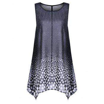 Plus Size Polka Dot Chiffon Long Asymmetric Tank Top