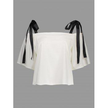 Cold Shoulder Bowknot Chiffon Top - WHITE WHITE