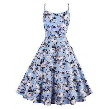 Roses Printed High Waist Flare Sun Dress - LIGHT BLUE LIGHT BLUE