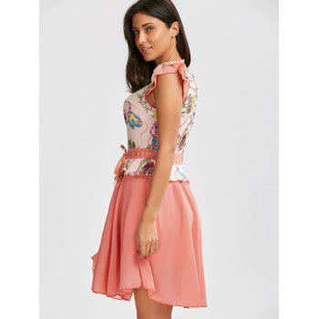 Ruffle Printed Chiffon Dress - PINK L