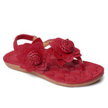 Flowers Elastic Band Faux Leather Sandals