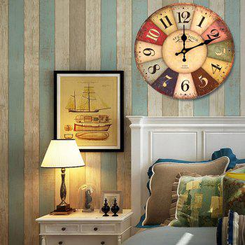 Europe Vintage Analog Mute Round Wood Wall Clock - 50*50CM 50*50CM