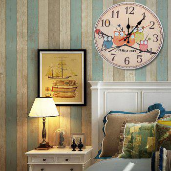 Owl Round Analog Number Mute Wood Wall Clock - 50*50CM 50*50CM