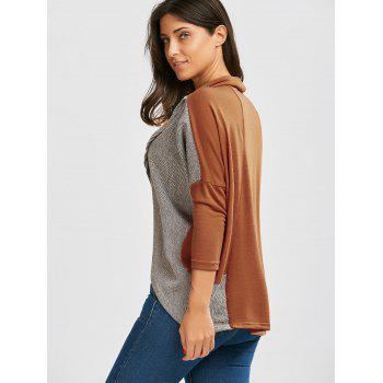 Batwing Sleeve Paneled Cowl Neck Top - ORANGE XL