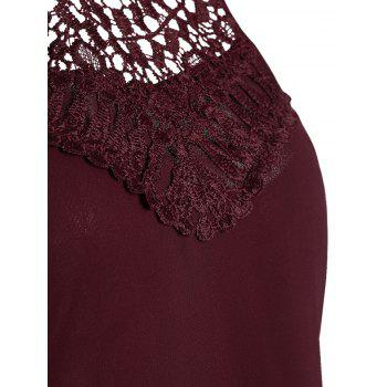 Crochet Lace Panel Cut Out Dress - WINE RED WINE RED