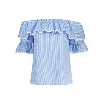 Bell Sleeves Off The Shoulder Top - BLUE BLUE