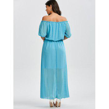 Off The Shoulder High Waist Chiffon Maxi Dress - LAKE BLUE L