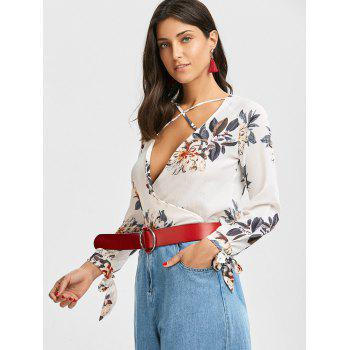 Plunging Neck Criss Cross Floral Print Blouse - WHITE S