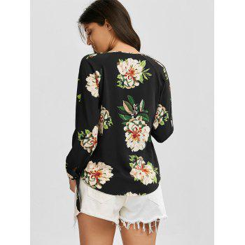 Plunging Neck Criss Cross Floral Print Blouse - BLACK S
