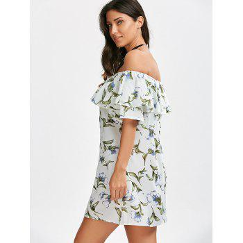 Off The Shoulder Floral Flounce Dress - WHITE XL