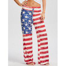 Patriotic American Flag Print Drawstring Pants