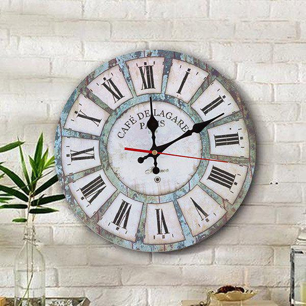 Vintage Living Room Wood Round Analog Wall Clock - WHITE 50*50CM