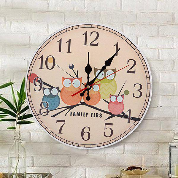 Owl Round Analog Number Mute Wood Wall Clock - APRICOT 50*50CM