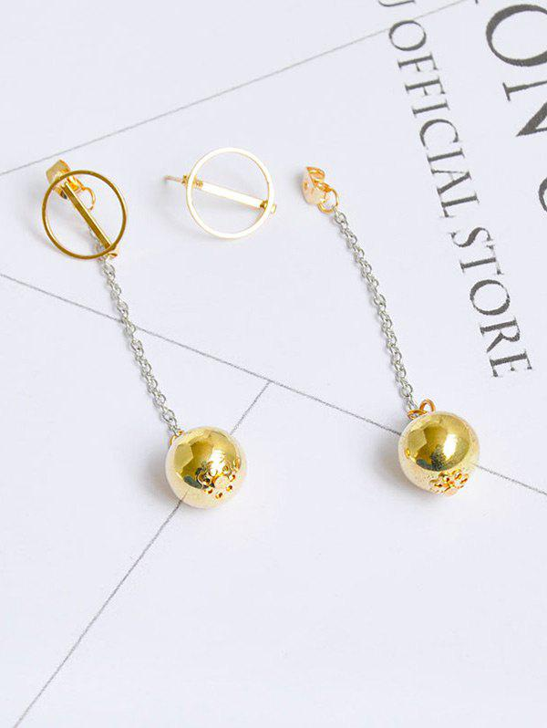 Metal Ball Circle Front Back Chain Earrings
