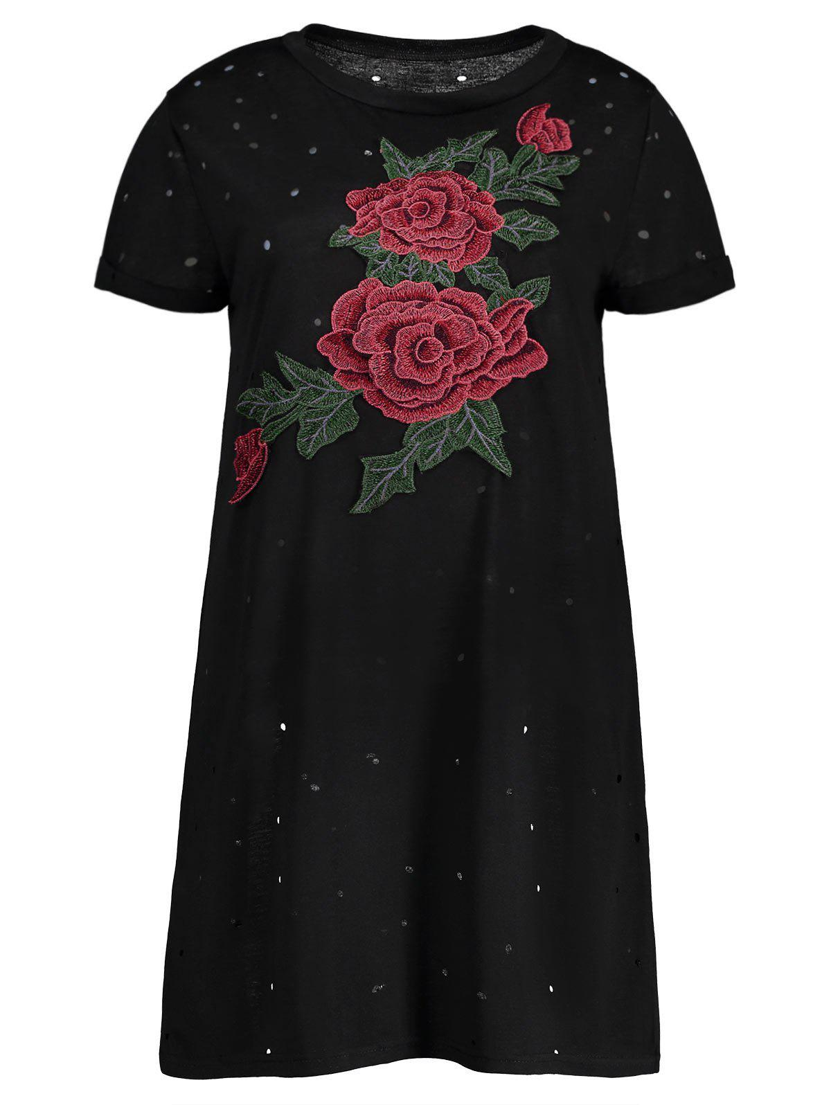 Distressed Embroidered Mini T-Shirt Dress - BLACK S