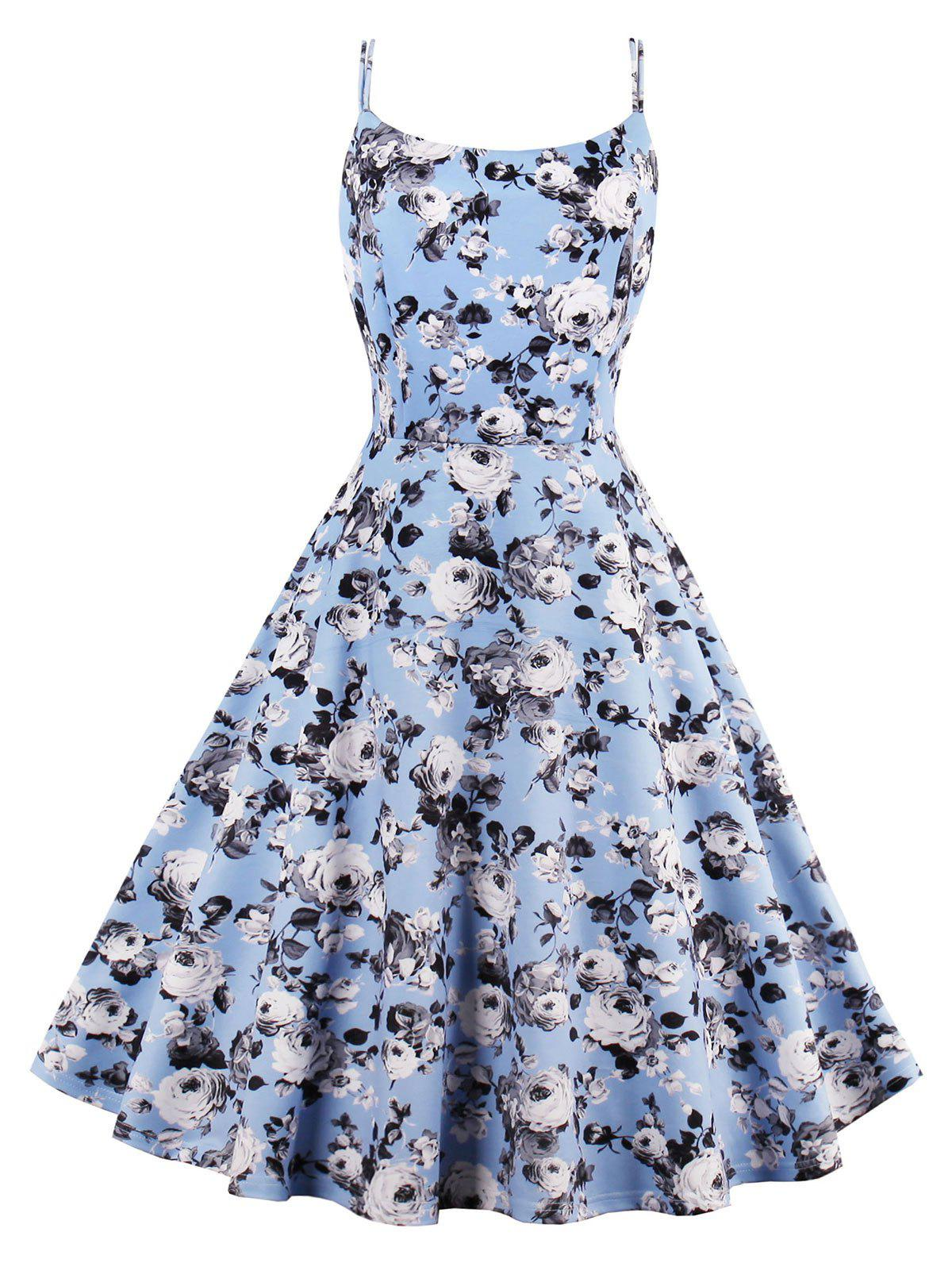 Roses Printed High Waist Flare Sun Dress - LIGHT BLUE 2XL