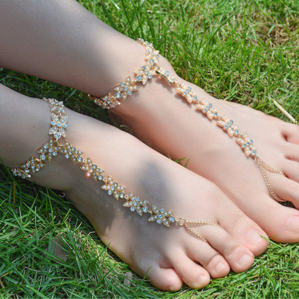 1PC Faux Pearl Rhinestone Slave Chain Anklet - GOLDEN