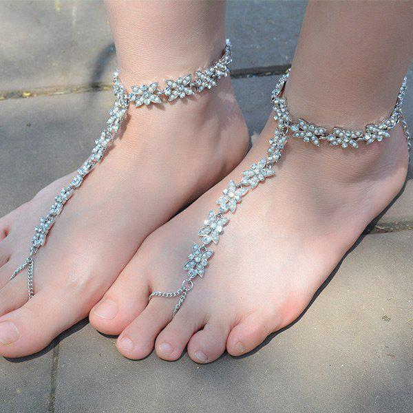 1PC Faux Pearl Rhinestone Slave Chain Anklet - Argent