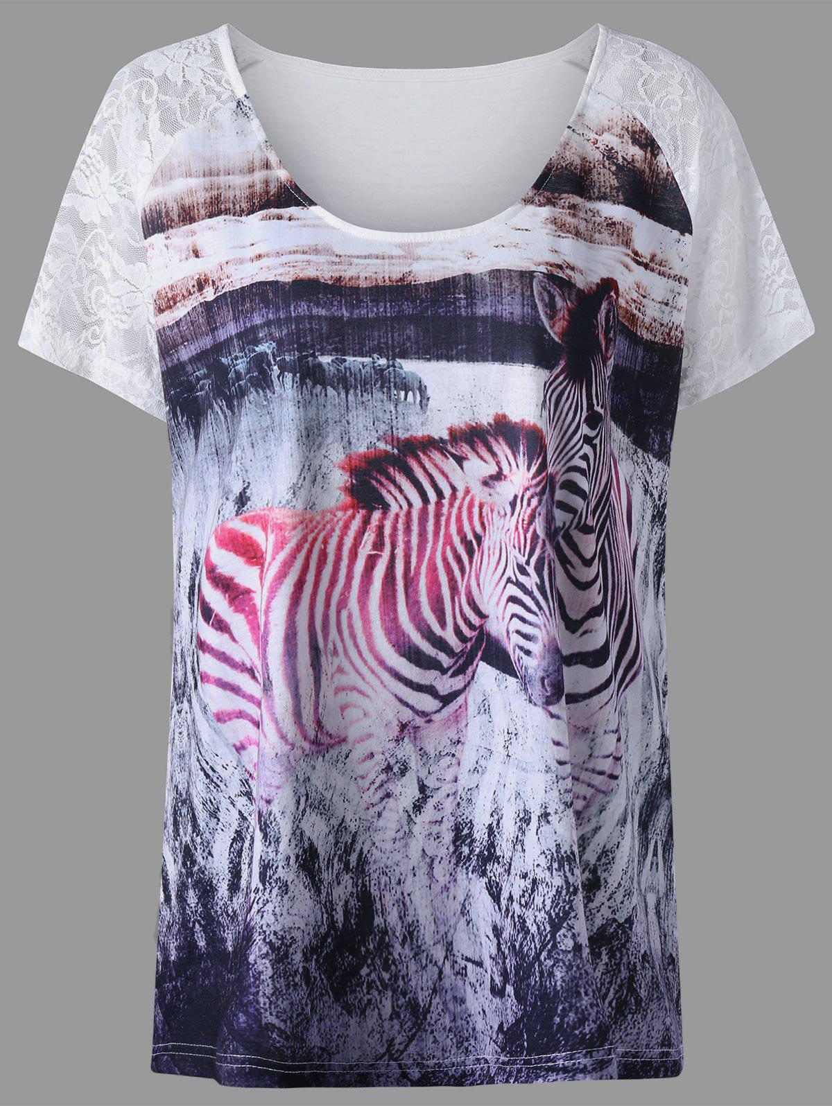 Plus Size Lace Insert Zebra Print T-shirt - COLORMIX XL