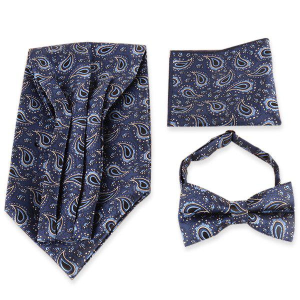 Paisley Pattern Ascot Tie Bowtie and Handkerchief - CADETBLUE