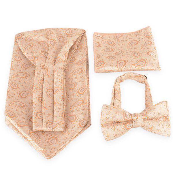 Paisley Pattern Ascot Tie Bowtie and Handkerchief - RAL 3 Pastel Jaune