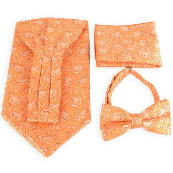 Paisley Pattern Ascot Tie Bowtie and Handkerchief - ORANGE