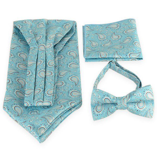 Paisley Pattern Ascot Tie Bowtie and Handkerchief - LIGHT BLUE
