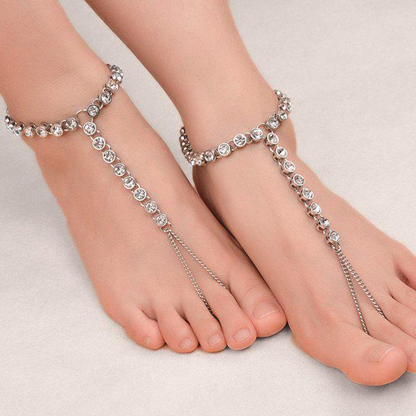 1PC Rhinestoned Chain Slave Anklet - Argent