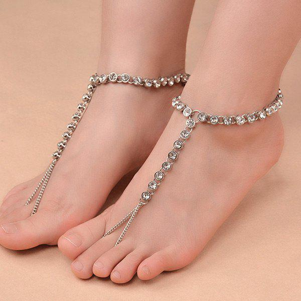 1PC Rhinestoned Chain Slave Anklet - SILVER
