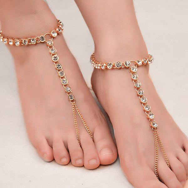 1PC Rhinestoned Chain Slave Anklet - Or