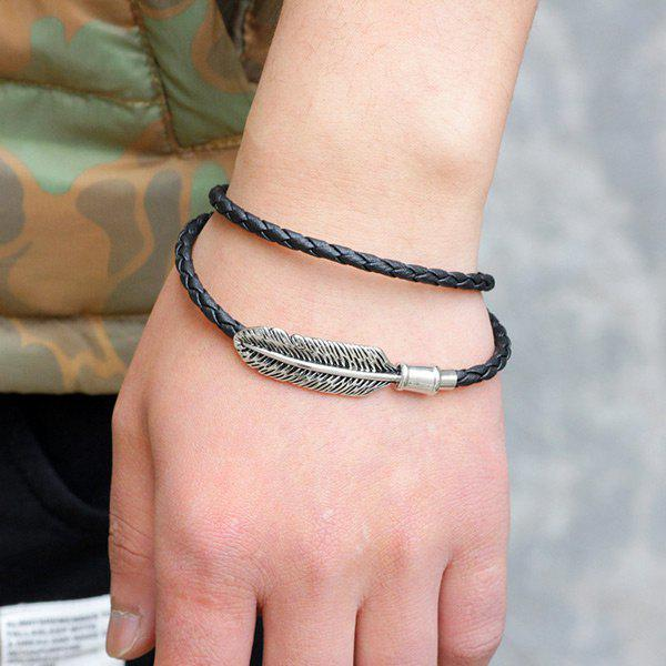 Faux Leather Braid Braid Feather Bracelet - Noir