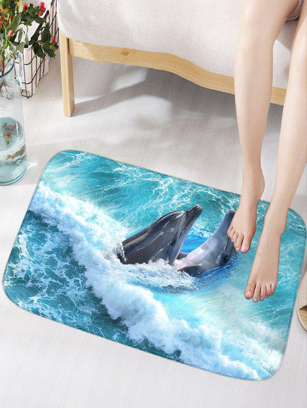 Skidproof Flannel Bathroom Rug with Nautical Dolphin Print skidproof flannel bathroom rug with nightfall surfing print