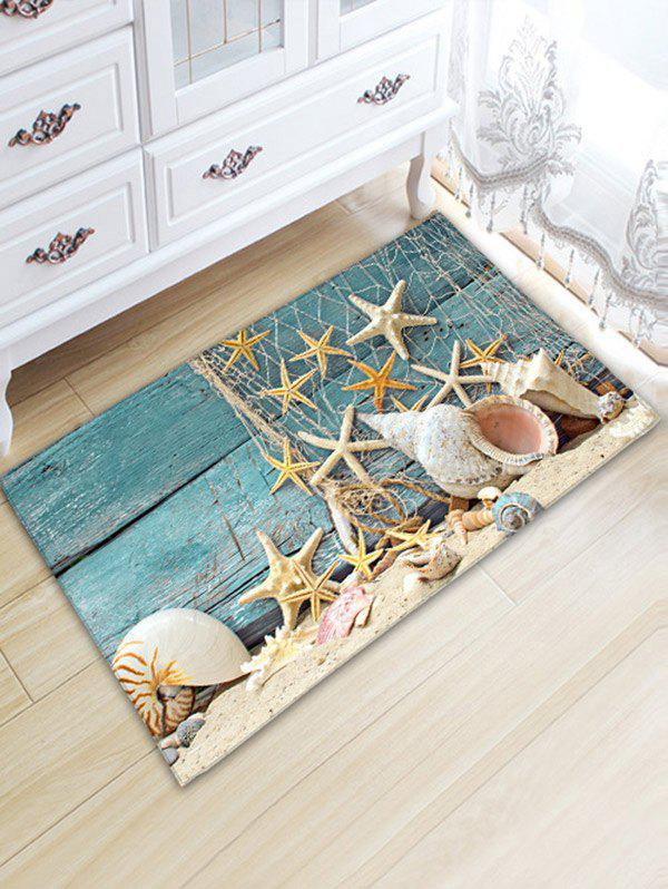 Nautical Starfish Print Flannel Antislip Bathroom Rug coral velvet antislip beach love letter bath rug