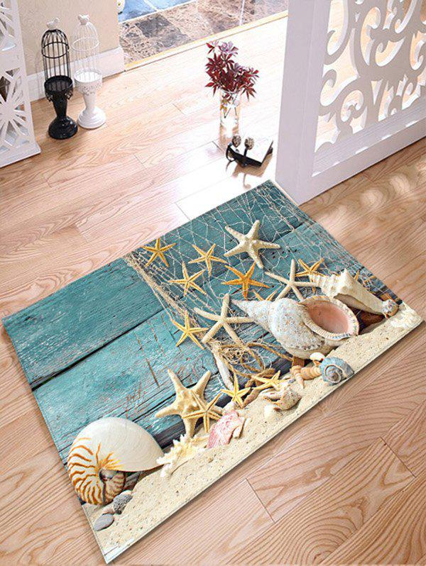 Nautical Starfish Print Flannel Antislip Bathroom Rug zoobles twobles starfish