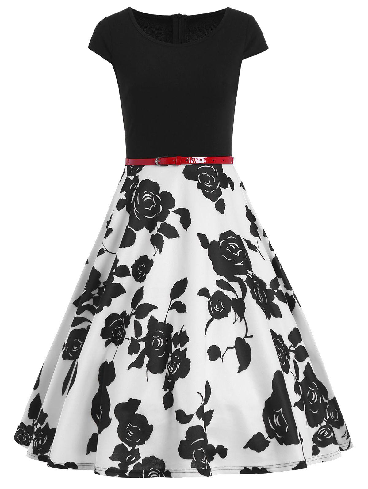 цена Floral Vintage Belted Fit and Flare Dress