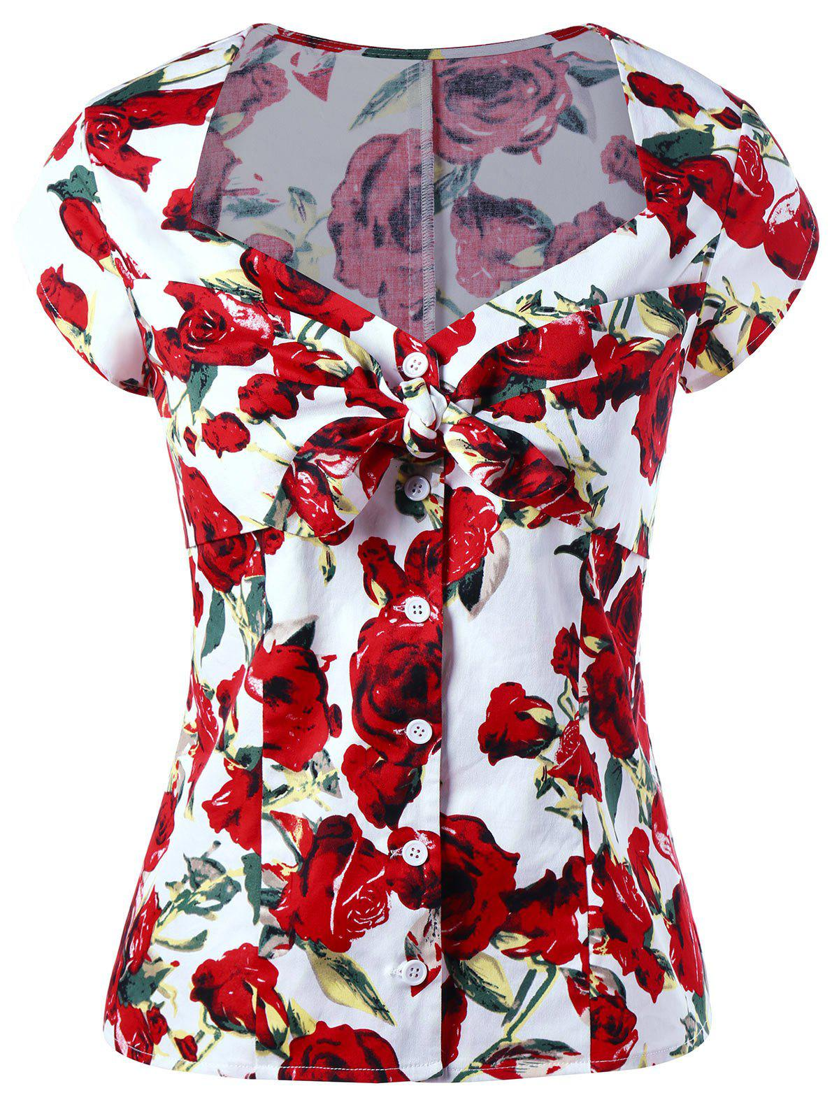 Sweetheart Neck Button Up Floral Gothic Blouse - RED M