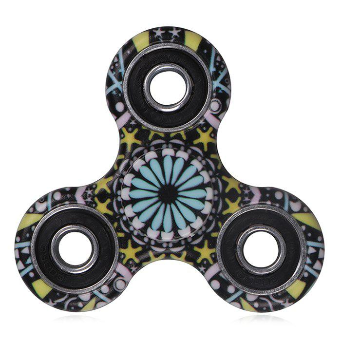 Mandala Patterned Plastic Fidget Spinner Fiddle Toy - Noir