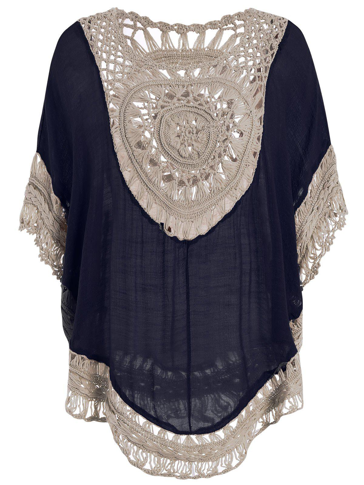 Hollow Out Tunic Crochet Cover Up Top - CERULEAN ONE SIZE