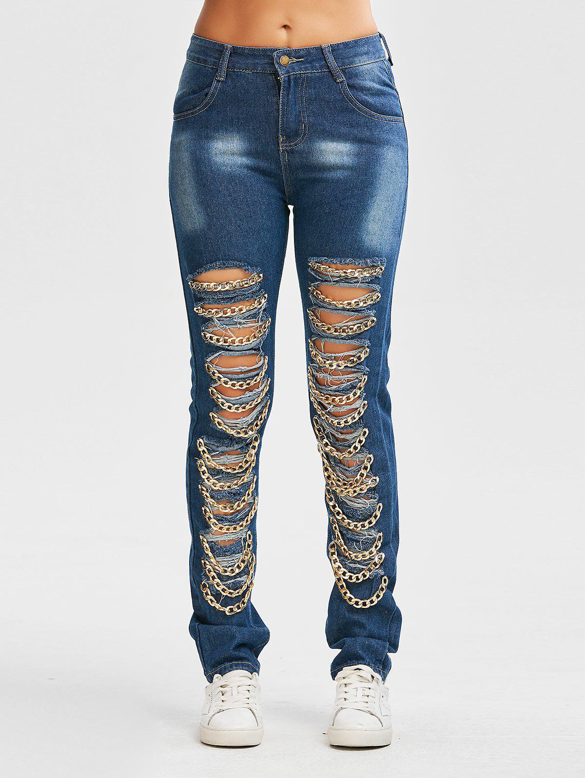 Chain Design Distressed Jeans - CERULEAN S