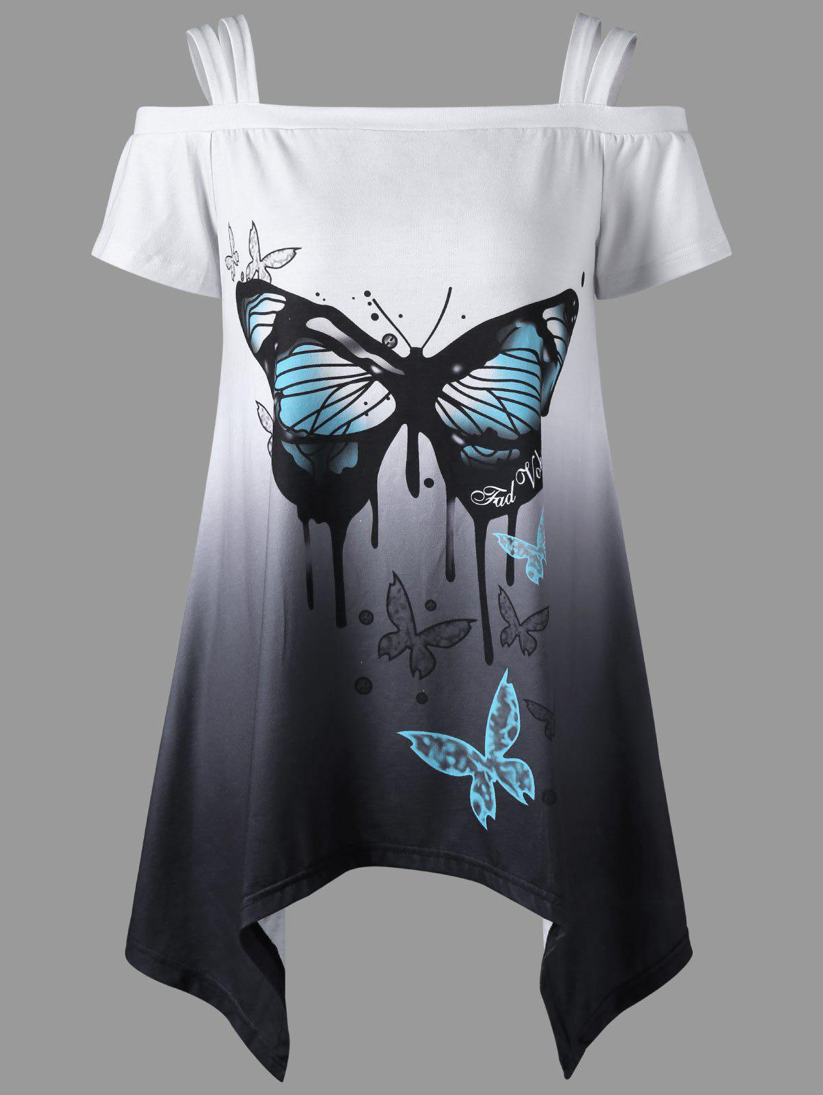Butterfly Print Asymmetrical Cold Shoulder Top cactus print cold shoulder top