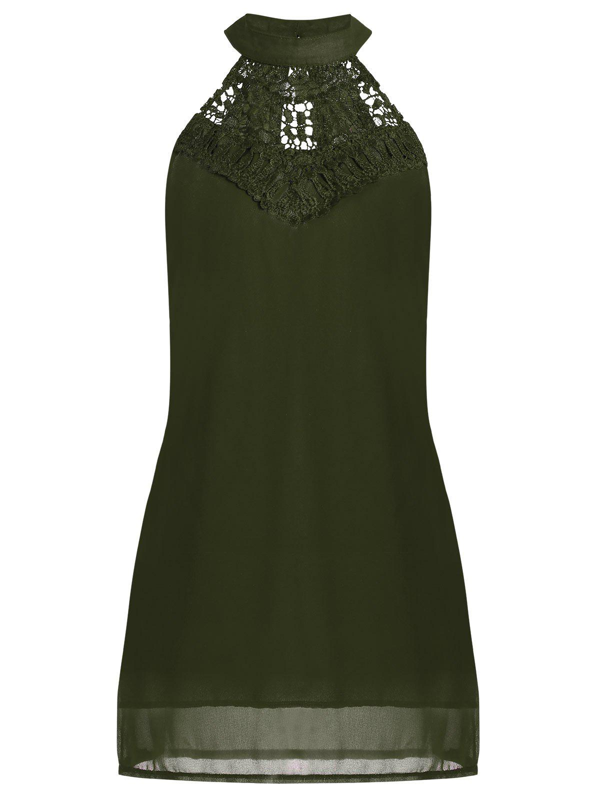 Crochet Lace Panel Cut Out Dress - ARMY GREEN L