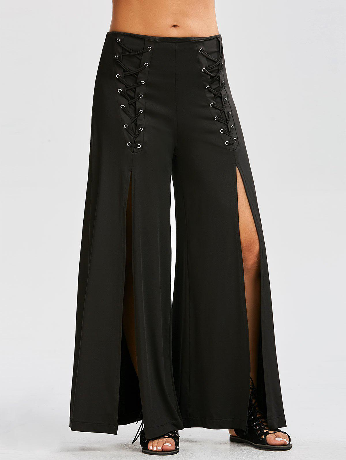 Lace Up High Slit Wide Leg Pants - BLACK M