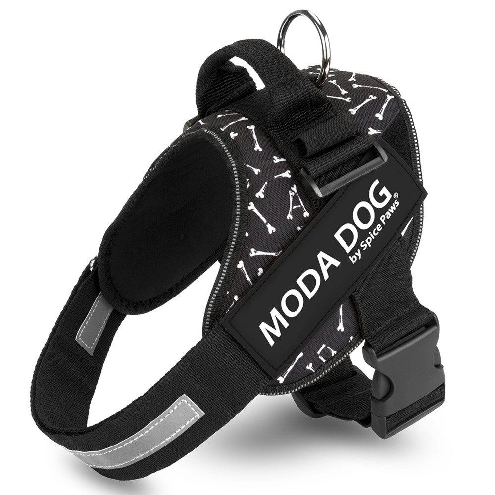 Tissu en nylon MODA DOG Harness Vest Luminated PatchPet Chest Straps - Noir 2XL