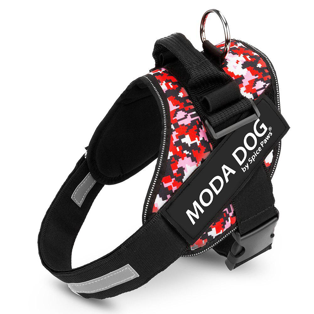 Tissu en nylon MODA DOG Harness Vest Luminated PatchPet Chest Straps - Texture de Rouge Geométrique L