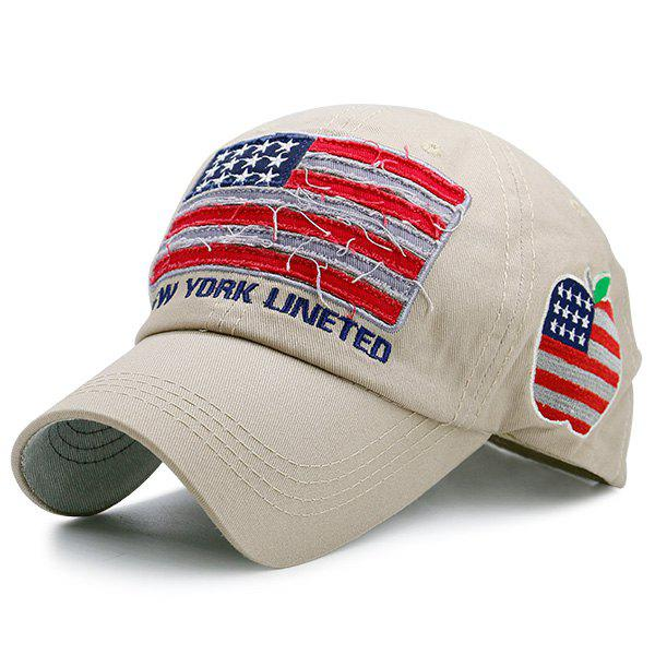 Letters Embroidered American Flag Patchwork Baseball Hat - KHAKI