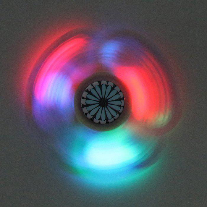Mandala Patterned Fidget Spinner avec LED Lights - Noir