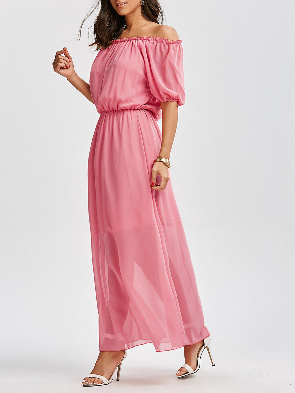Off The Shoulder High Waist Chiffon Maxi Dress - PINK M