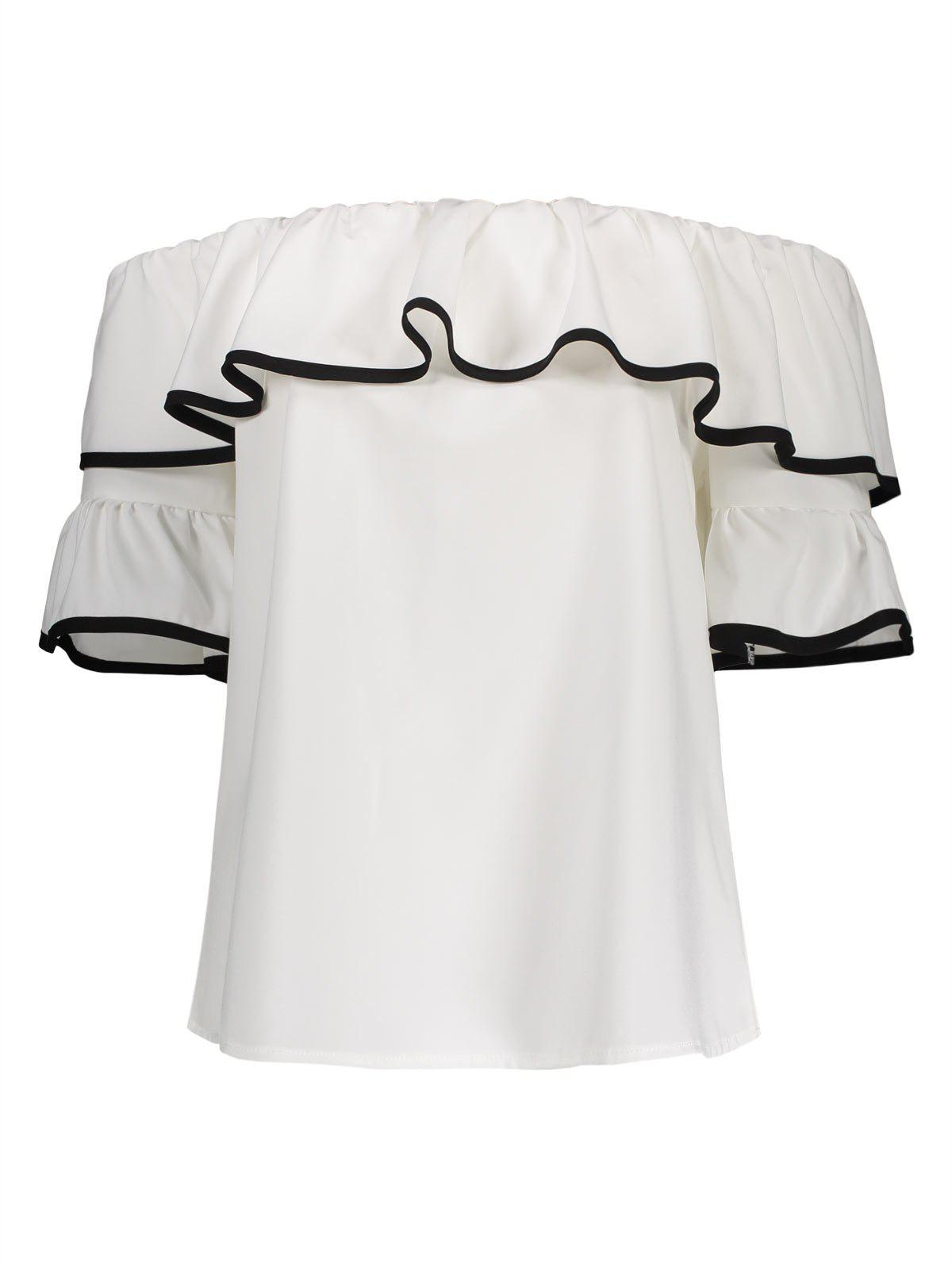 Bell Sleeves Off The Shoulder Top - WHITE S